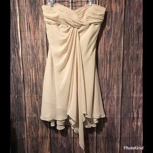 David's Bridal Cream Flowy Bridesmaid Dress F12284